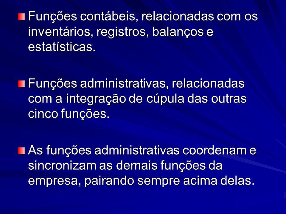 Funções contábeis, relacionadas com os inventários, registros, balanços e estatísticas.