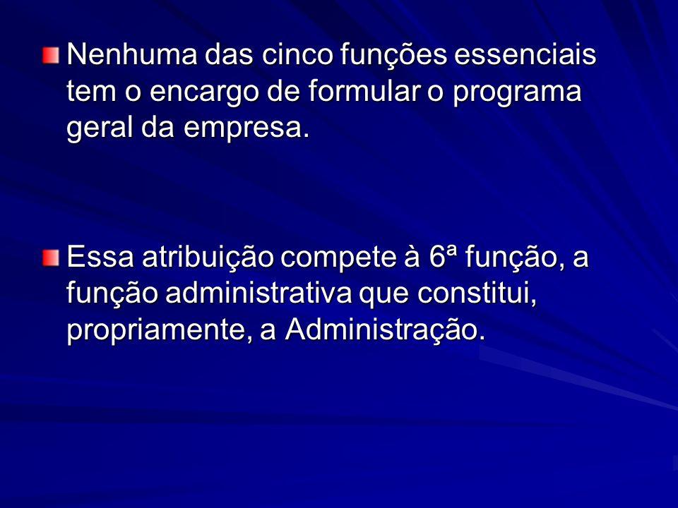 Nenhuma das cinco funções essenciais tem o encargo de formular o programa geral da empresa.