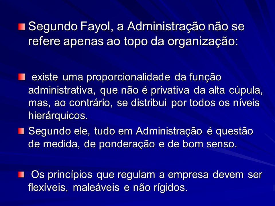 Segundo Fayol, a Administração não se refere apenas ao topo da organização: