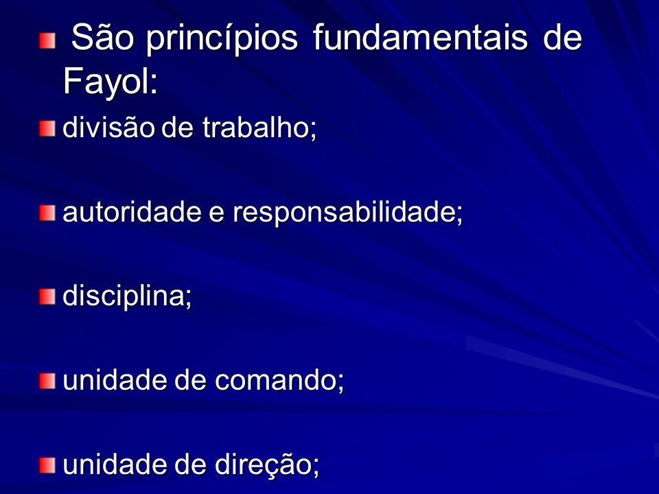 São princípios fundamentais de Fayol: