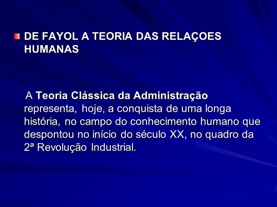 DE FAYOL A TEORIA DAS RELAÇOES HUMANAS