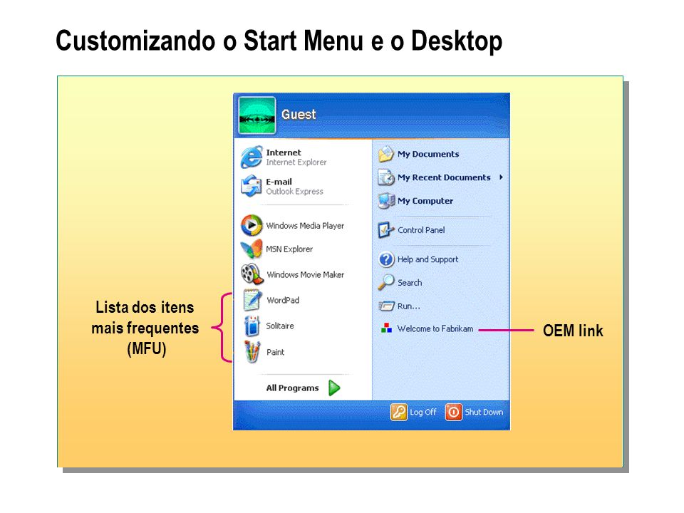 Customizando o Start Menu e o Desktop