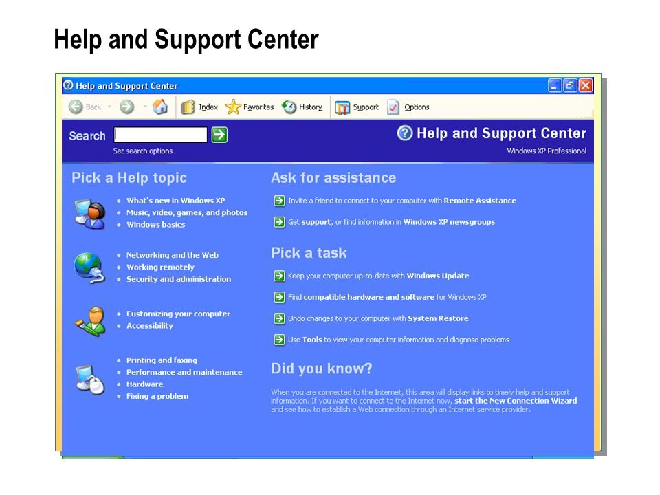 Help and Support Center