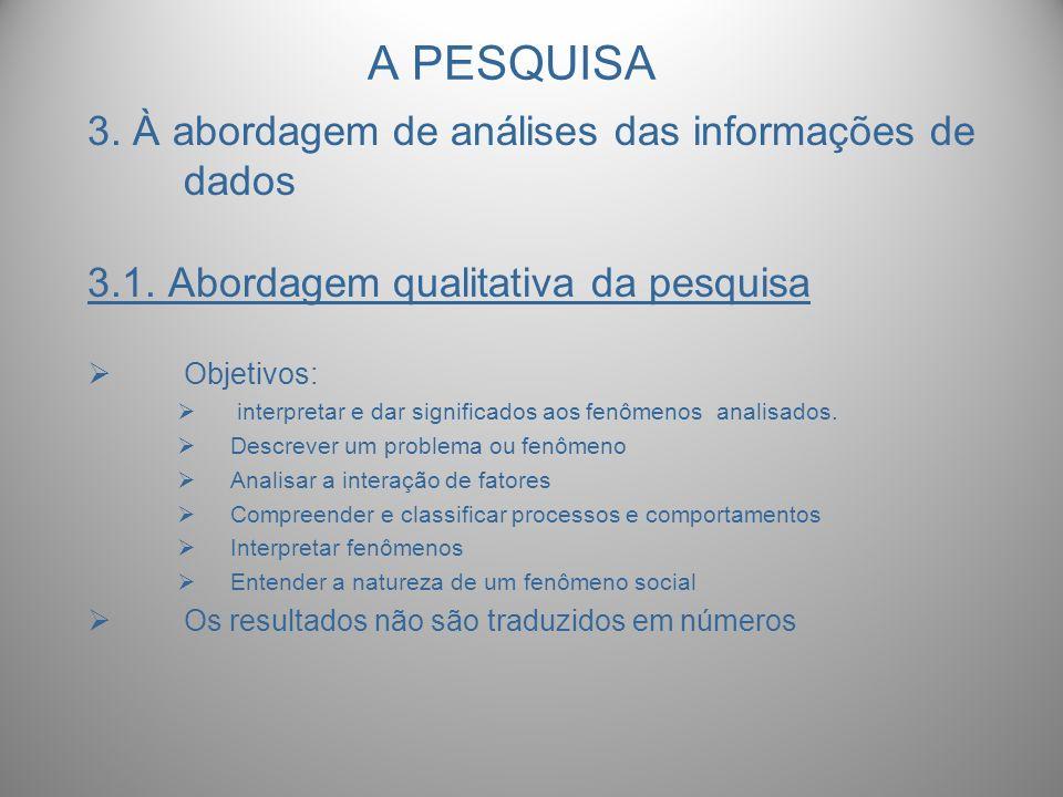 A PESQUISA 3. À abordagem de análises das informações de dados