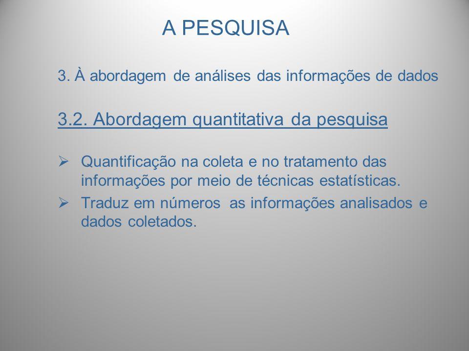 A PESQUISA 3.2. Abordagem quantitativa da pesquisa