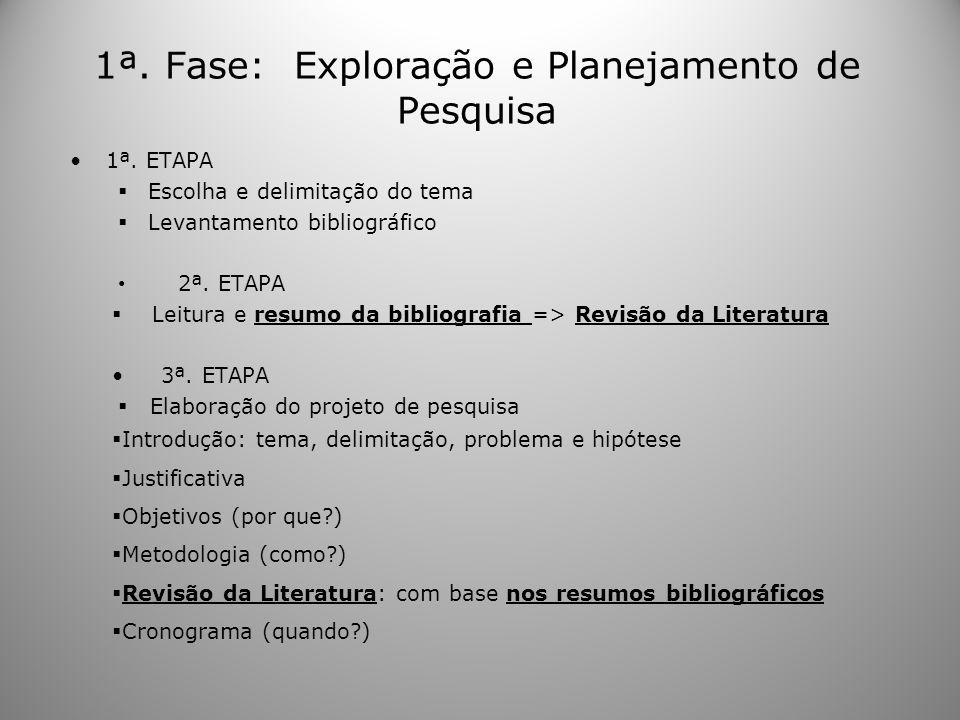 1ª. Fase: Exploração e Planejamento de Pesquisa