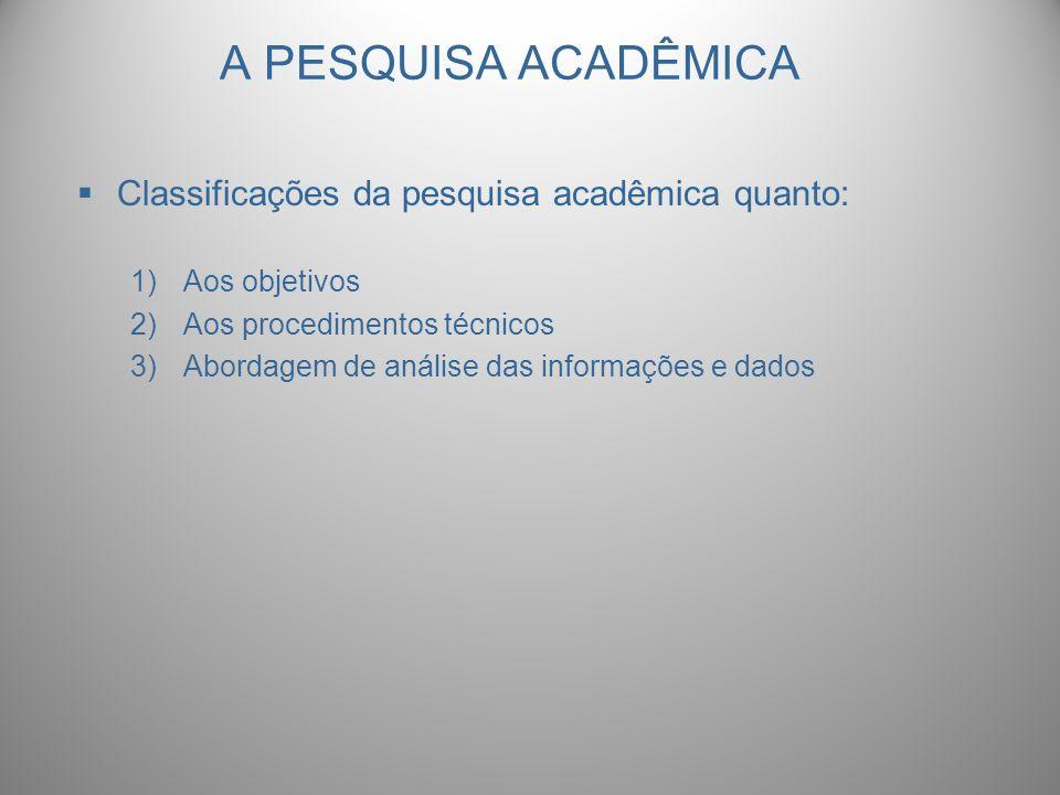 A PESQUISA ACADÊMICA Classificações da pesquisa acadêmica quanto: