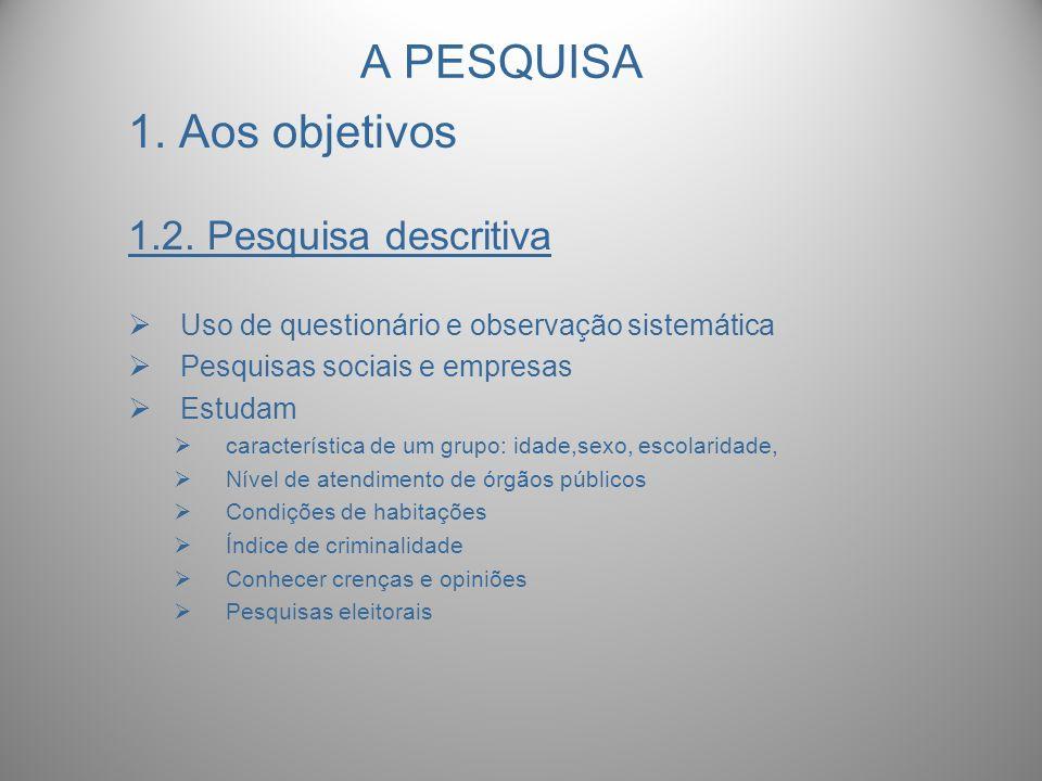 A PESQUISA 1. Aos objetivos 1.2. Pesquisa descritiva
