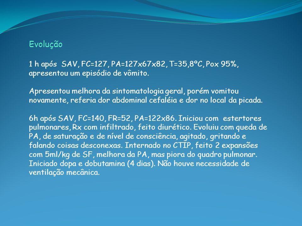 Evolução 1 h após SAV, FC=127, PA=127x67x82, T=35,8ºC, Pox 95%, apresentou um episódio de vômito.