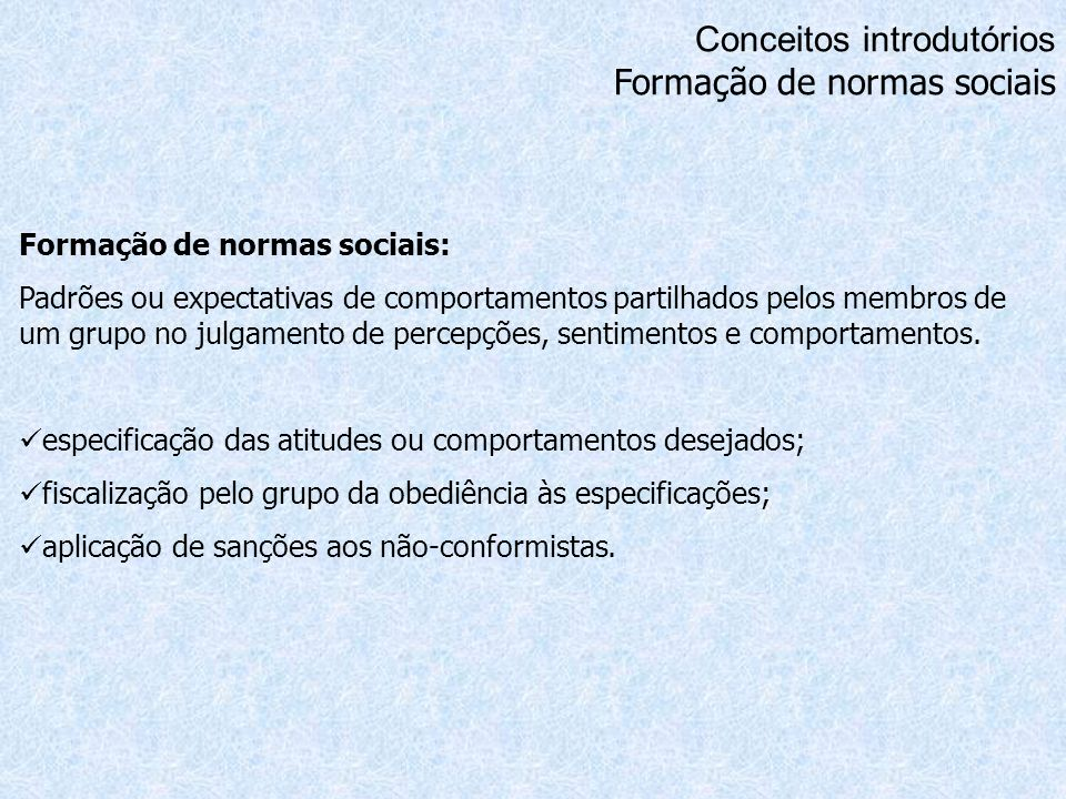 Conceitos introdutórios Formação de normas sociais