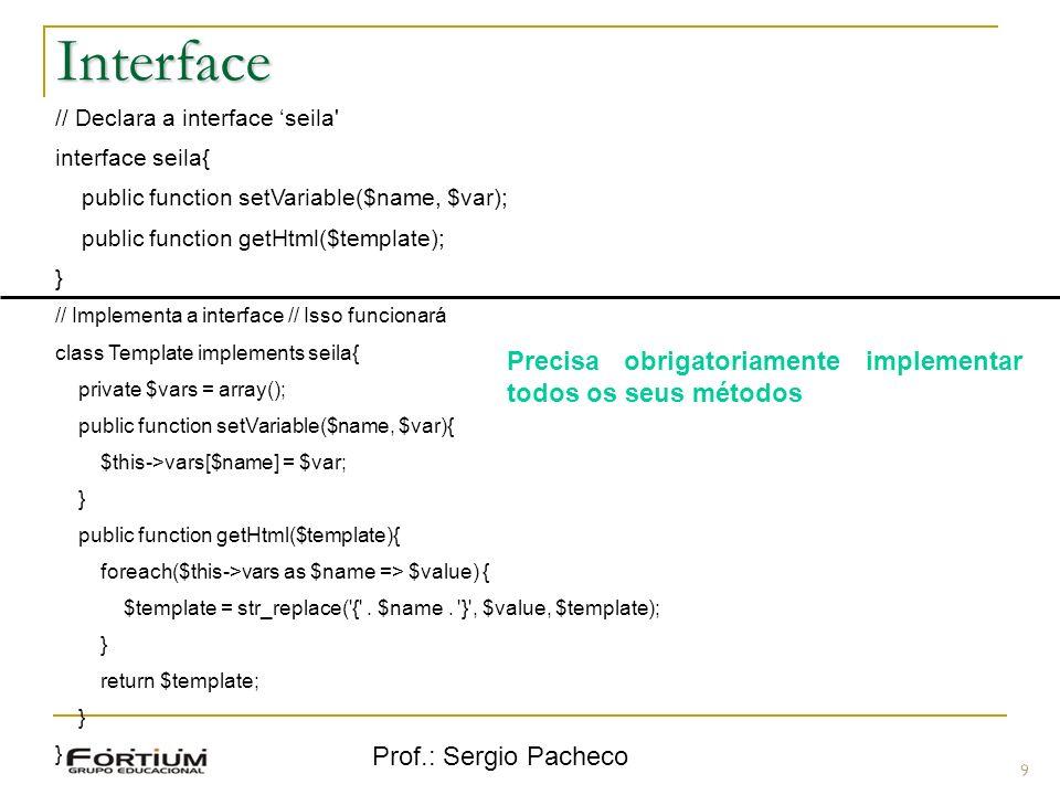 Interface Precisa obrigatoriamente implementar todos os seus métodos