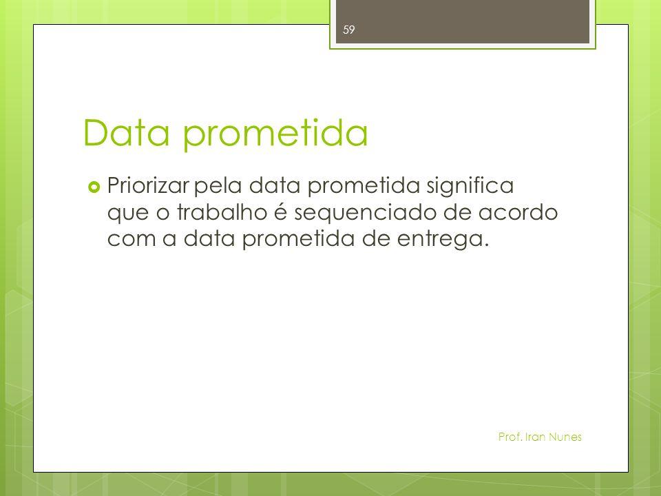 Data prometida Priorizar pela data prometida significa que o trabalho é sequenciado de acordo com a data prometida de entrega.