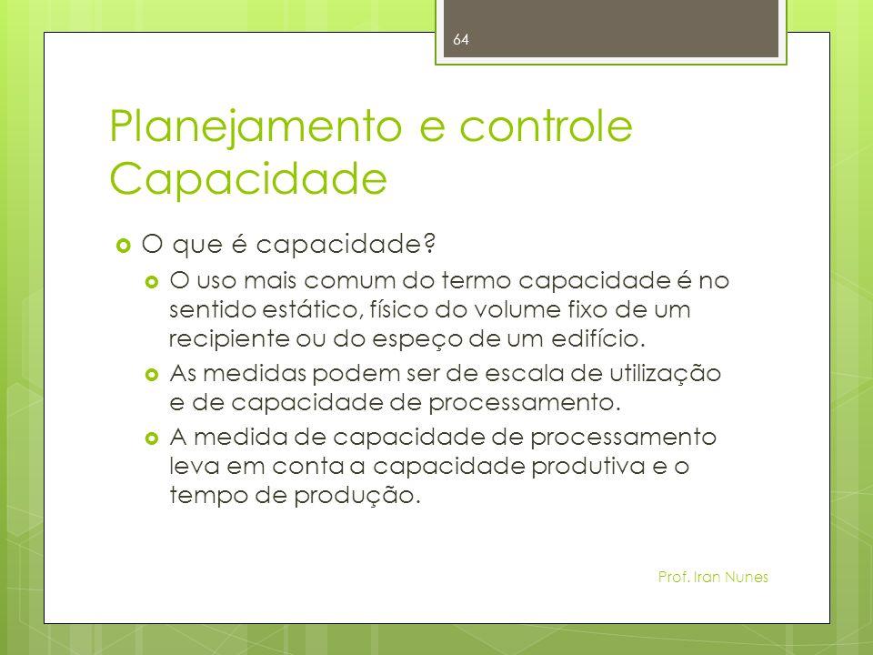Planejamento e controle Capacidade
