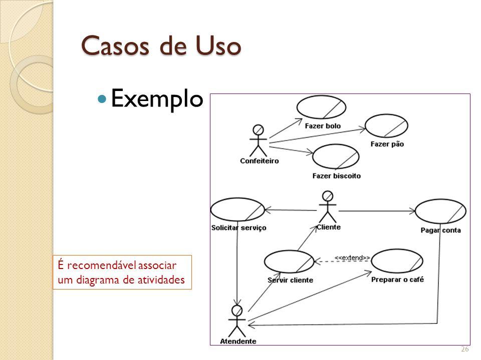 Casos de Uso Exemplo É recomendável associar um diagrama de atividades
