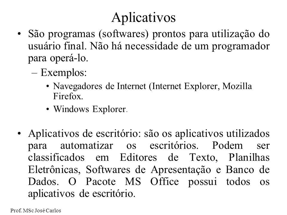 Aplicativos São programas (softwares) prontos para utilização do usuário final. Não há necessidade de um programador para operá-lo.