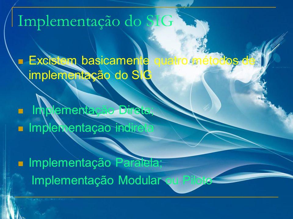 Implementação do SIG Excistem basicamente quatro métodos de implementação do SIG. Implementação Direta;