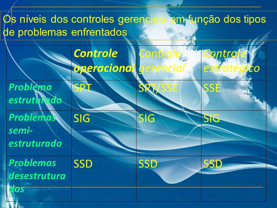 Controle operacional Controle gerencial Controle estratégico SPT