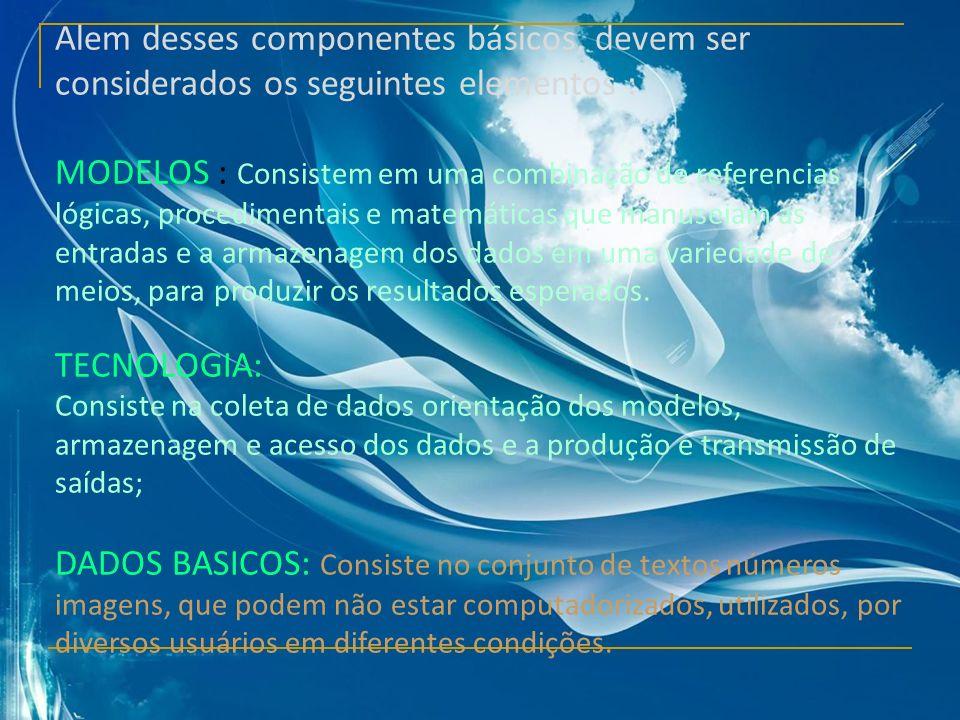 Alem desses componentes básicos, devem ser considerados os seguintes elementos :