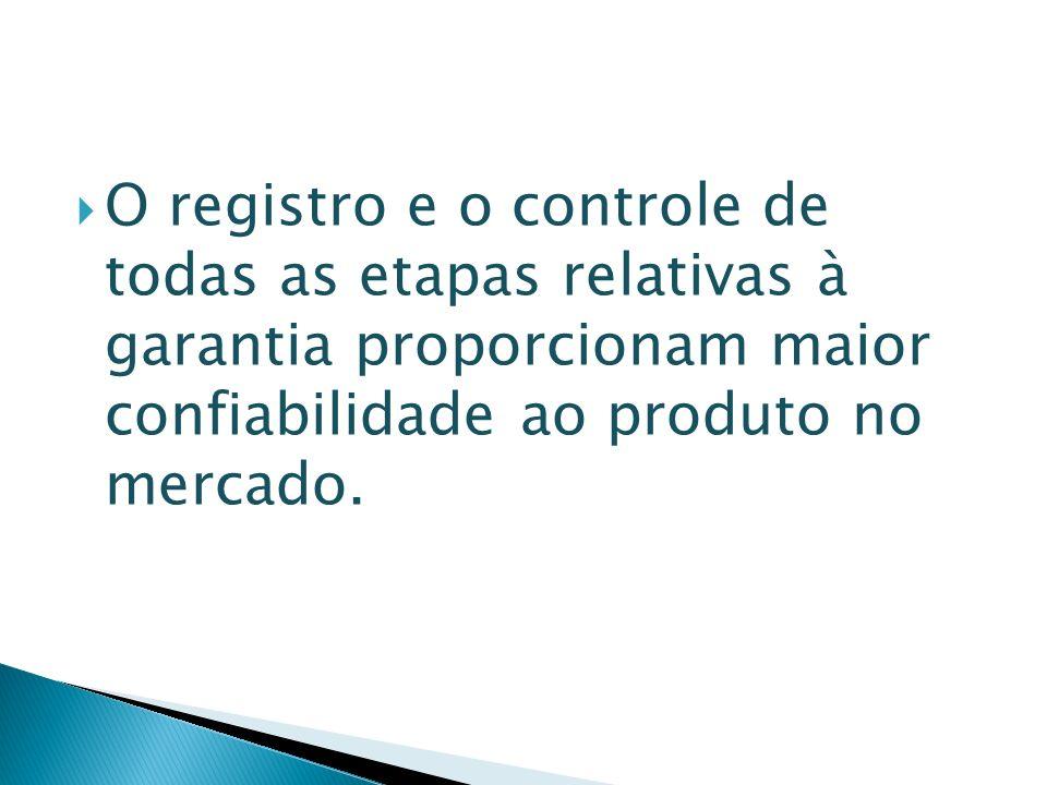 O registro e o controle de todas as etapas relativas à garantia proporcionam maior confiabilidade ao produto no mercado.