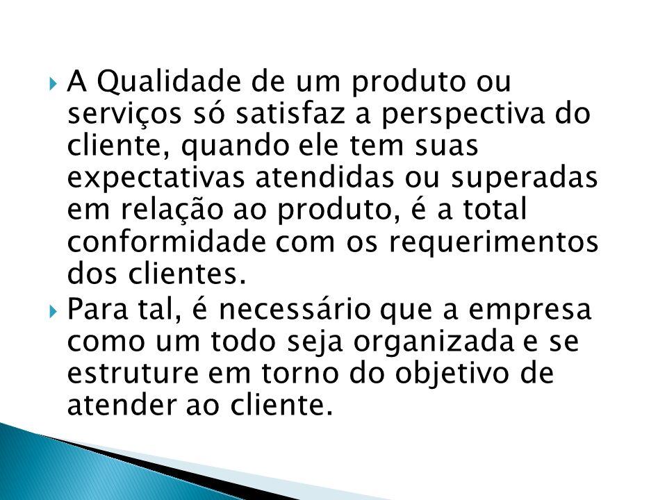 A Qualidade de um produto ou serviços só satisfaz a perspectiva do cliente, quando ele tem suas expectativas atendidas ou superadas em relação ao produto, é a total conformidade com os requerimentos dos clientes.
