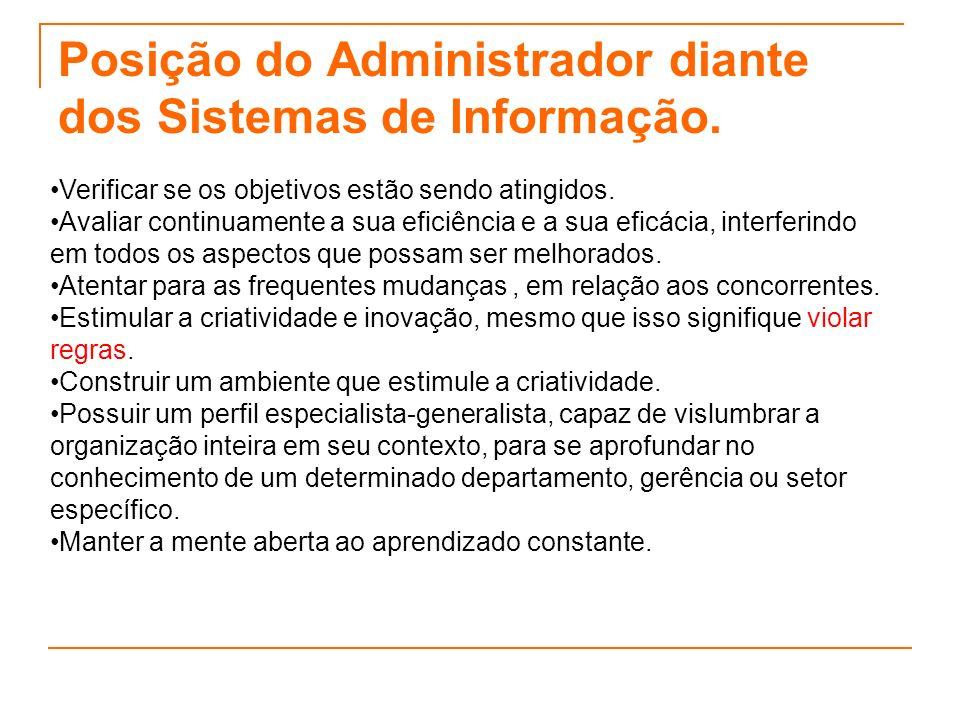 Posição do Administrador diante dos Sistemas de Informação.