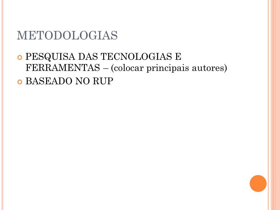 METODOLOGIAS PESQUISA DAS TECNOLOGIAS E FERRAMENTAS – (colocar principais autores) BASEADO NO RUP