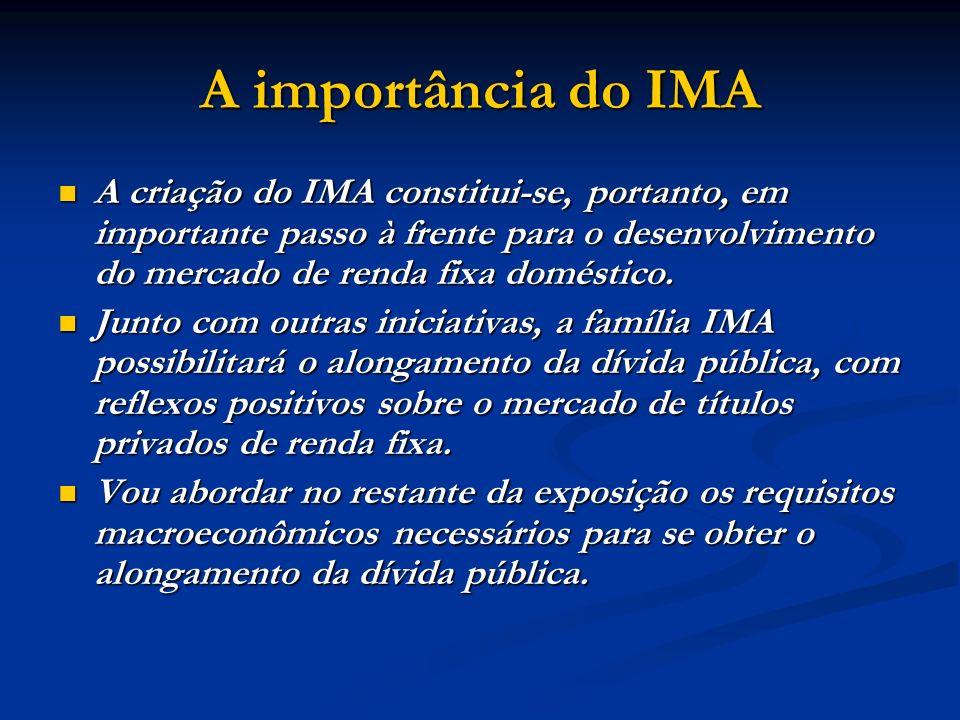 A importância do IMA A criação do IMA constitui-se, portanto, em importante passo à frente para o desenvolvimento do mercado de renda fixa doméstico.
