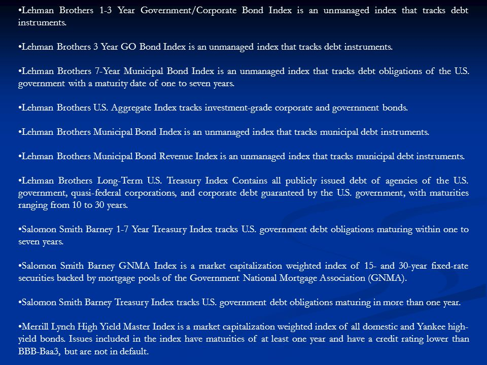 Lehman Brothers 1-3 Year Government/Corporate Bond Index is an unmanaged index that tracks debt instruments.