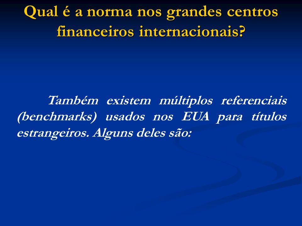 Qual é a norma nos grandes centros financeiros internacionais