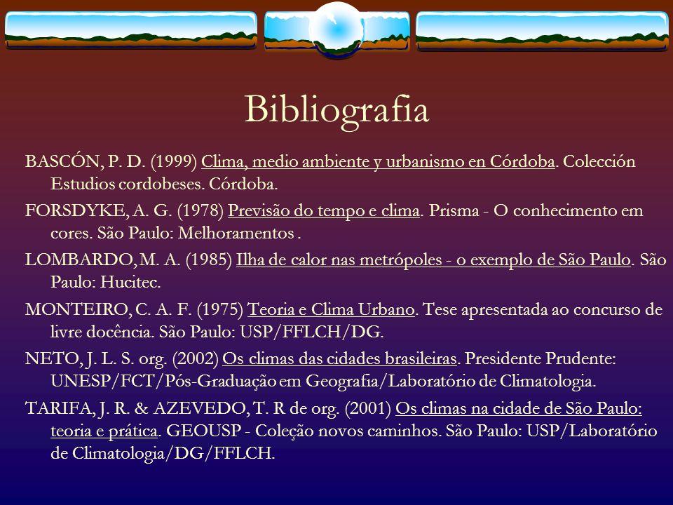 Bibliografia BASCÓN, P. D. (1999) Clima, medio ambiente y urbanismo en Córdoba. Colección Estudios cordobeses. Córdoba.