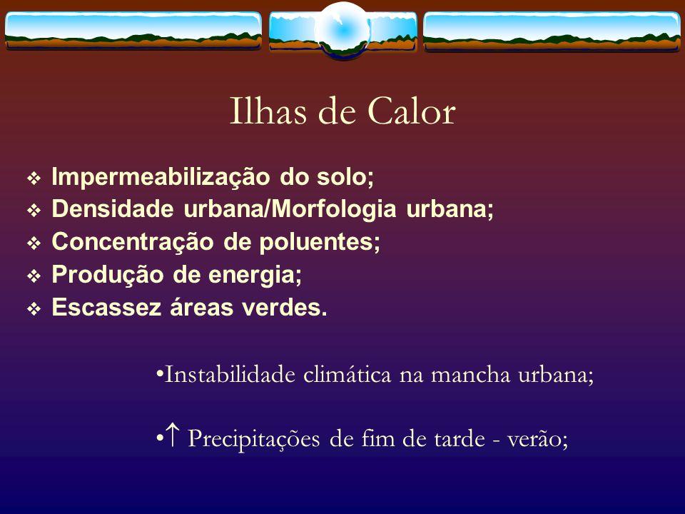 Ilhas de Calor Instabilidade climática na mancha urbana;