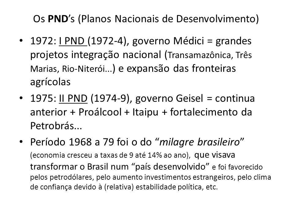 Os PND's (Planos Nacionais de Desenvolvimento)