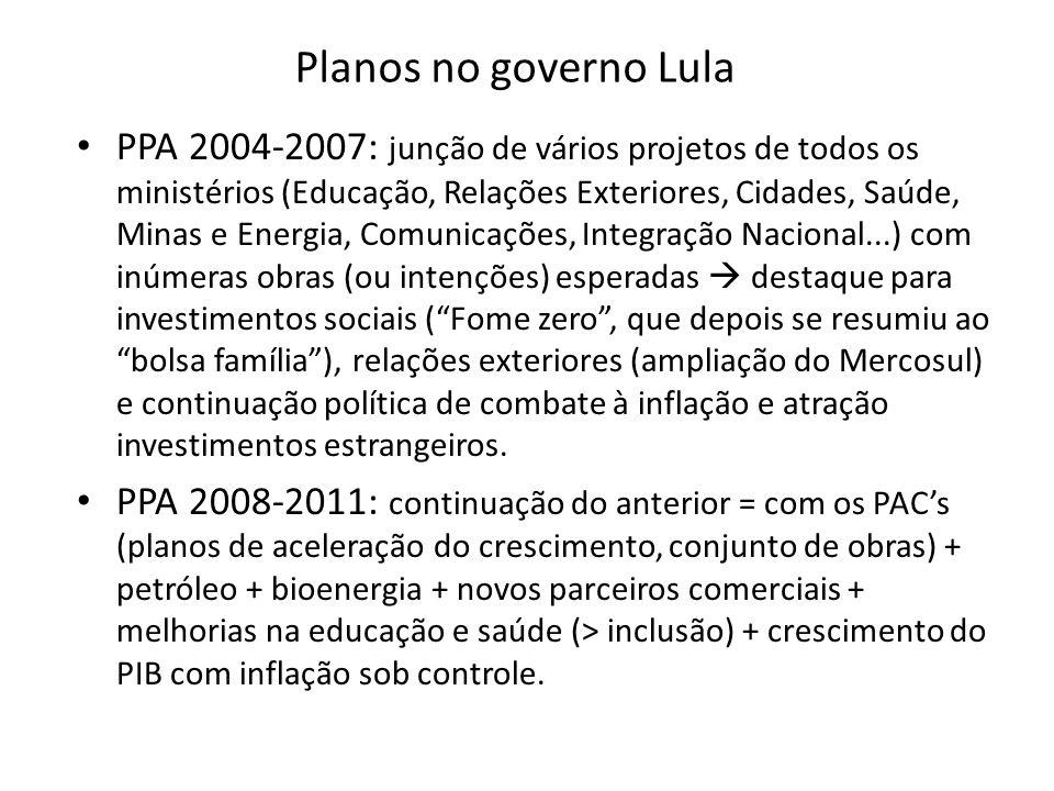 Planos no governo Lula