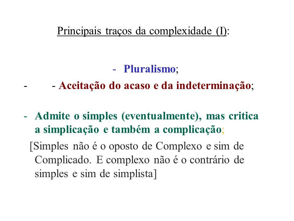 Principais traços da complexidade (I):