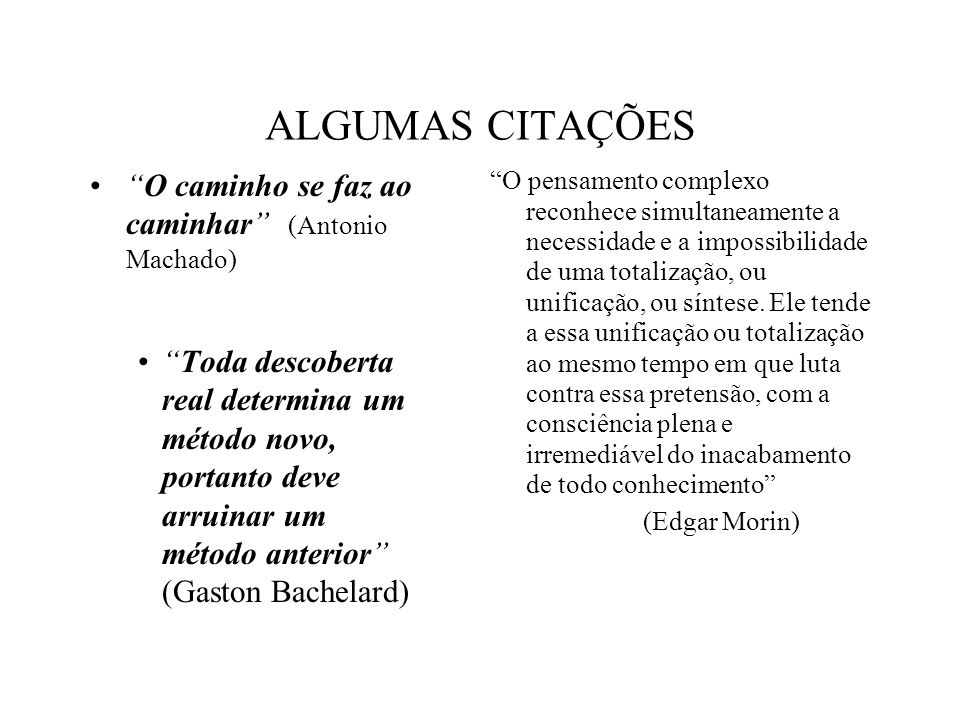 ALGUMAS CITAÇÕES O caminho se faz ao caminhar (Antonio Machado)