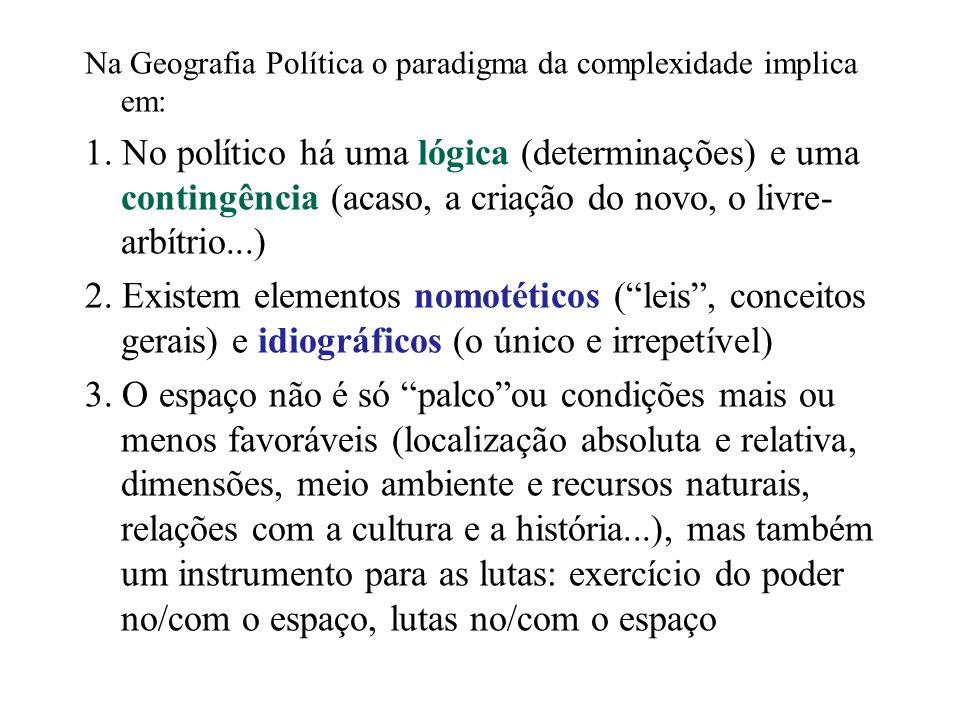 Na Geografia Política o paradigma da complexidade implica em: