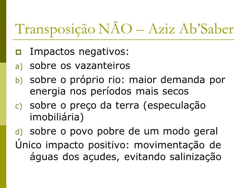 Transposição NÃO – Aziz Ab'Saber