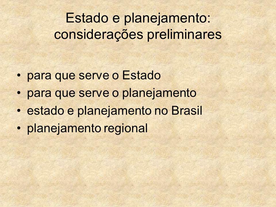 Estado e planejamento: considerações preliminares