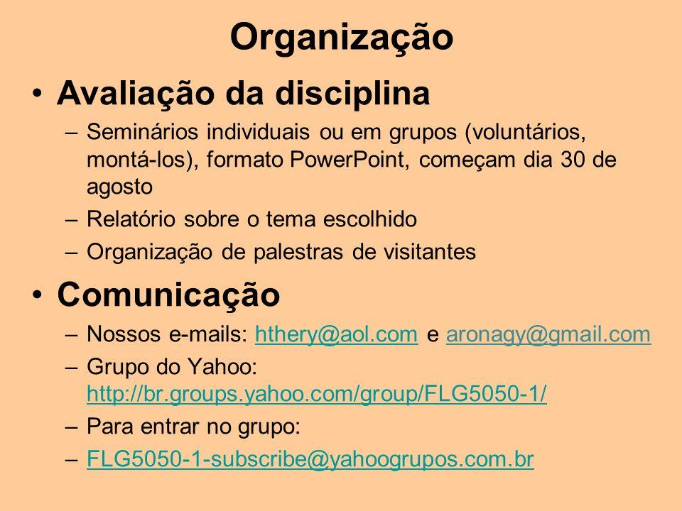 Organização Avaliação da disciplina Comunicação