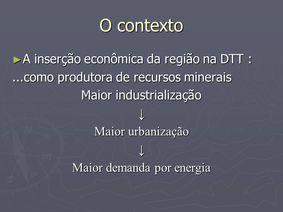 O contexto A inserção econômica da região na DTT :