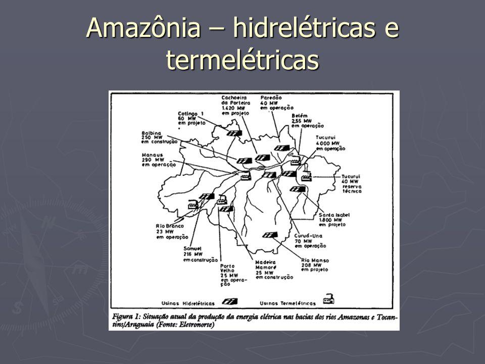Amazônia – hidrelétricas e termelétricas