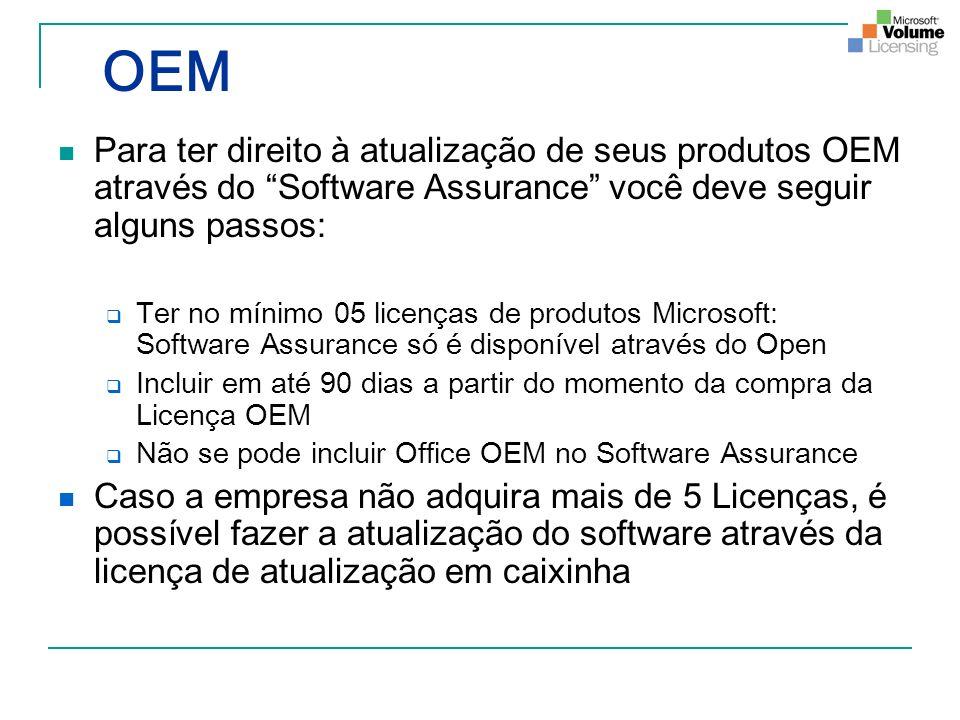 OEM Para ter direito à atualização de seus produtos OEM através do Software Assurance você deve seguir alguns passos: