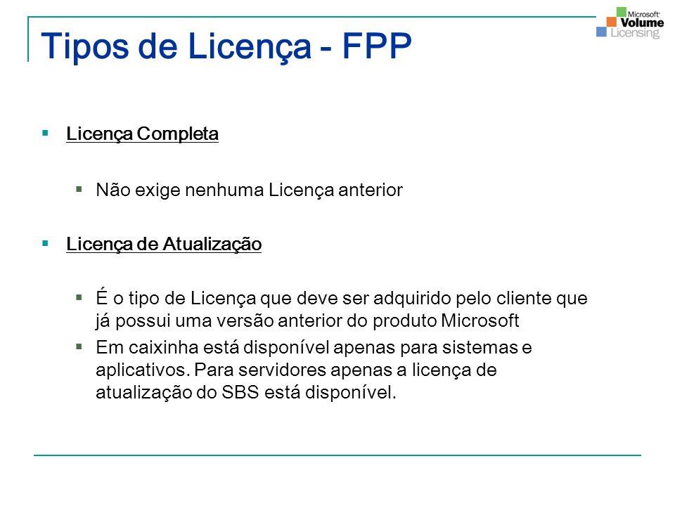 Tipos de Licença - FPP Licença Completa