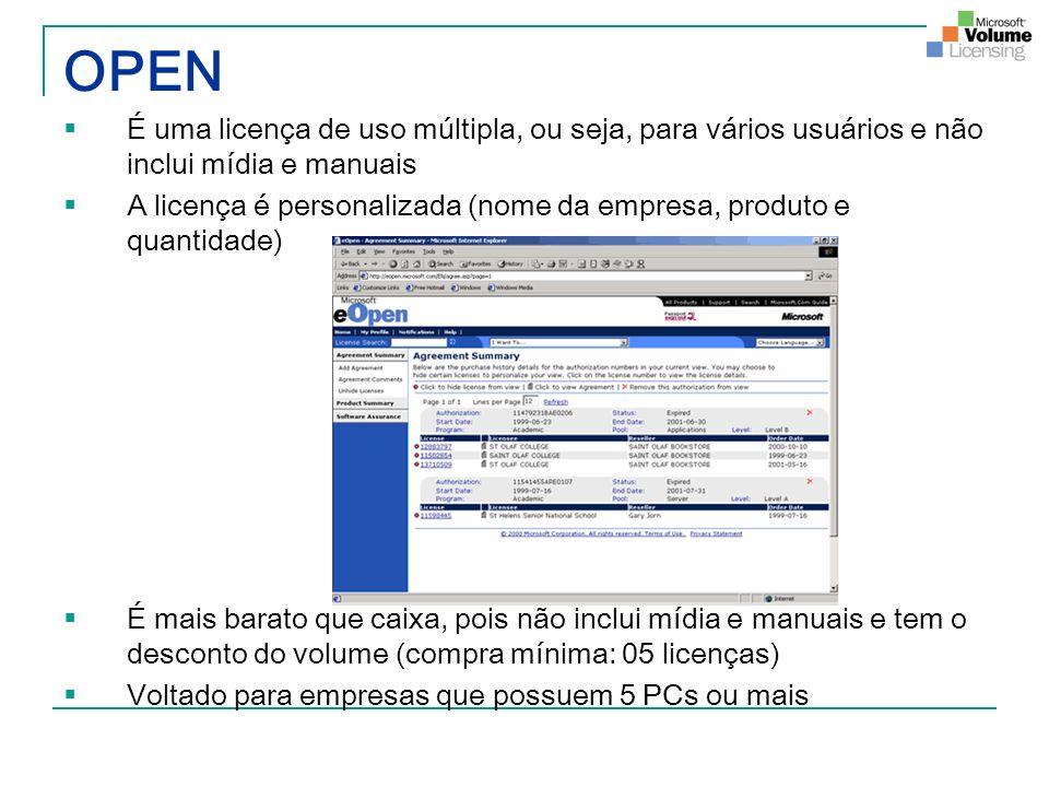 OPEN É uma licença de uso múltipla, ou seja, para vários usuários e não inclui mídia e manuais.