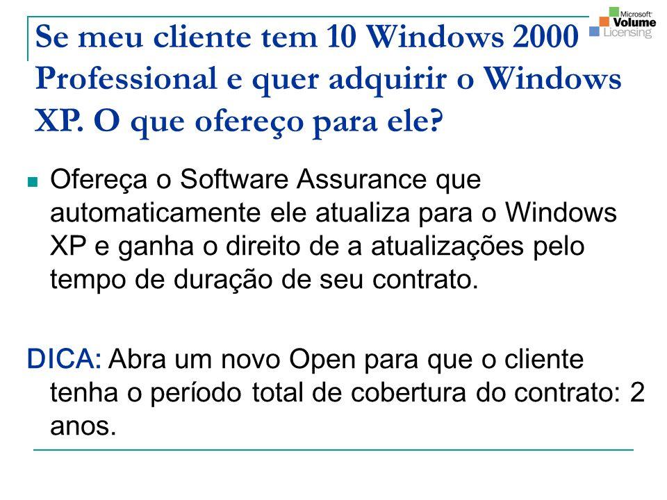 Se meu cliente tem 10 Windows 2000 Professional e quer adquirir o Windows XP. O que ofereço para ele