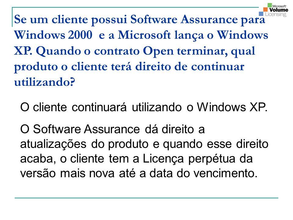 Se um cliente possui Software Assurance para Windows 2000 e a Microsoft lança o Windows XP. Quando o contrato Open terminar, qual produto o cliente terá direito de continuar utilizando
