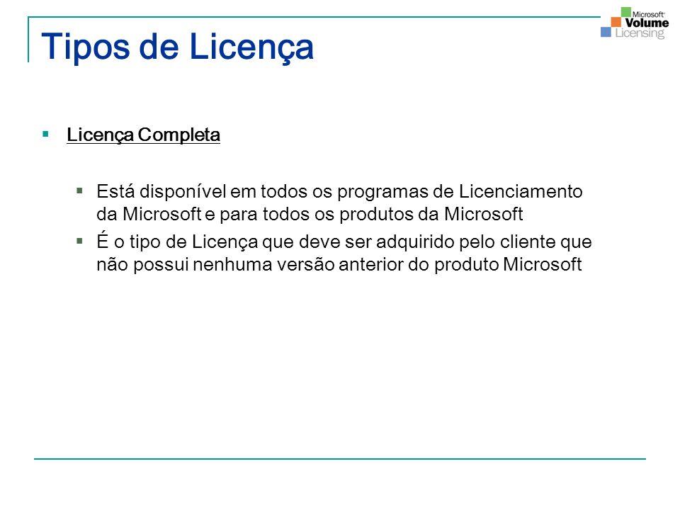 Tipos de Licença Licença Completa
