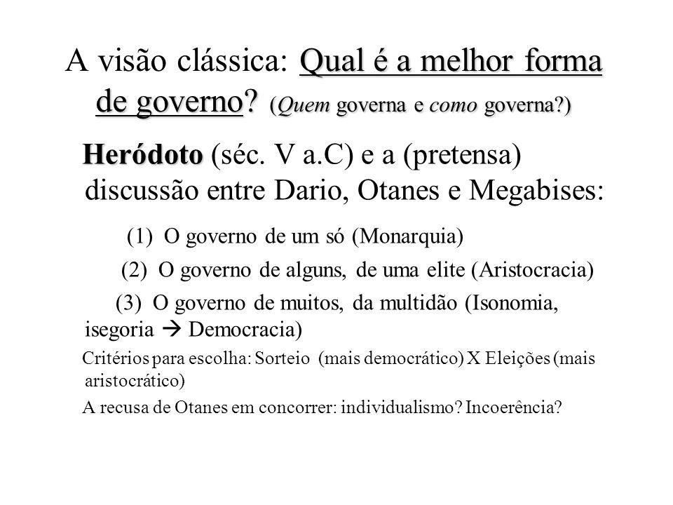 A visão clássica: Qual é a melhor forma de governo