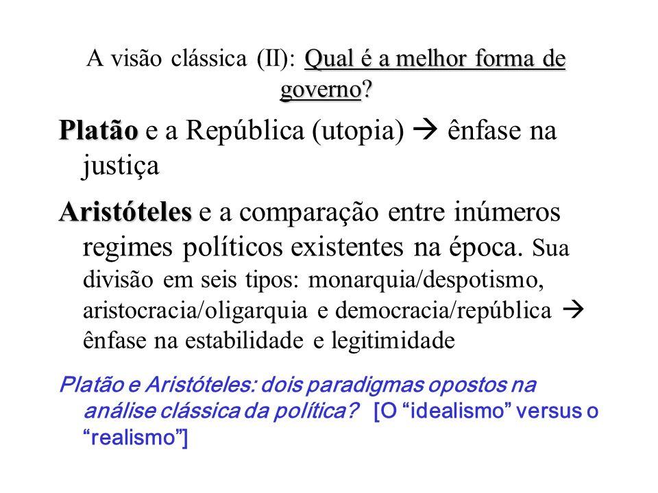 A visão clássica (II): Qual é a melhor forma de governo