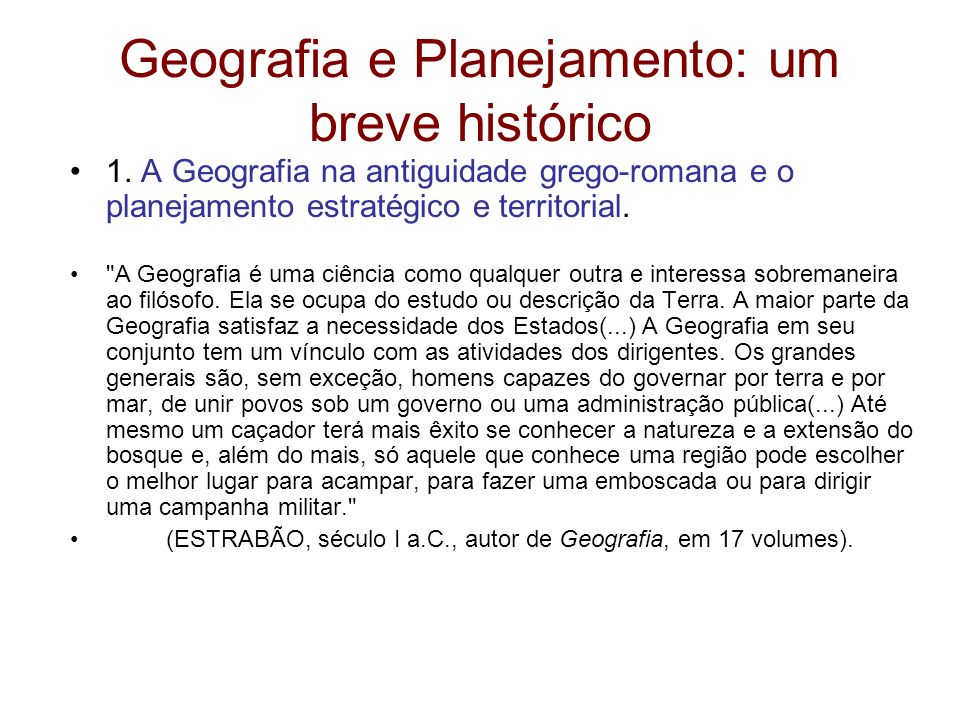 Geografia e Planejamento: um breve histórico